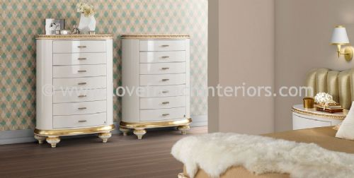 Venezia 7 Drawer Tallboy Oval Chest Gloss White